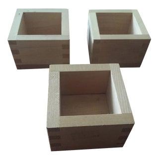 Japanese Wooden Box Saki Cups - Set of 3