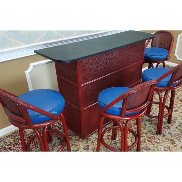 Image of Vintage Ficks Reed 1950s Tiki Style Bar & 4 Swivel Stools