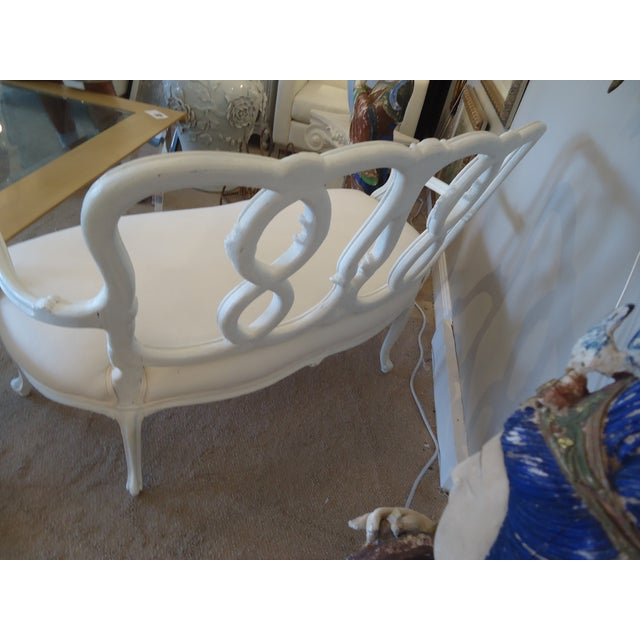 Vintage French Painted Carved Wood Loveseat - Image 4 of 4