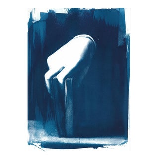Limited Edition: Hand with Book, Detail of Portrait of a Young Man by Bronzino, Cyanotype on Watercolor Paper