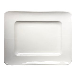 Italian Handmade White Ceramic Platter for Horchow