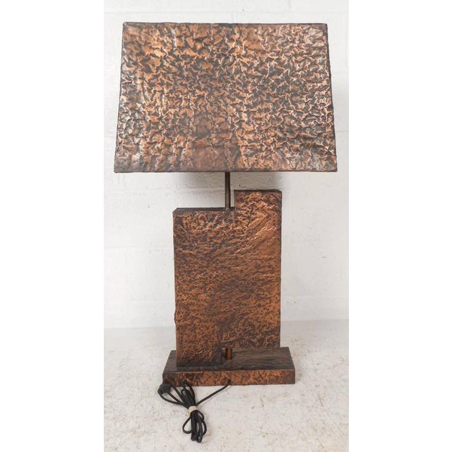 Unique Mid-Century Modern Textured Copper Table Lamp - Image 6 of 11