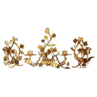 Italian Gold Gilt Candle Sconces - Set of 3