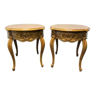 Thomasville French Court Burl Oak Oval End Tables - A Pair