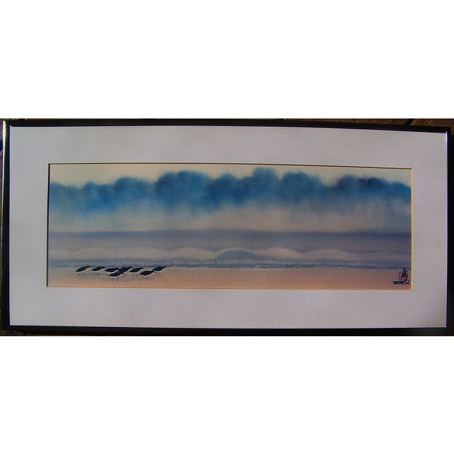 Japanese Sandpipers Seascape Painting on Silk - Image 2 of 5