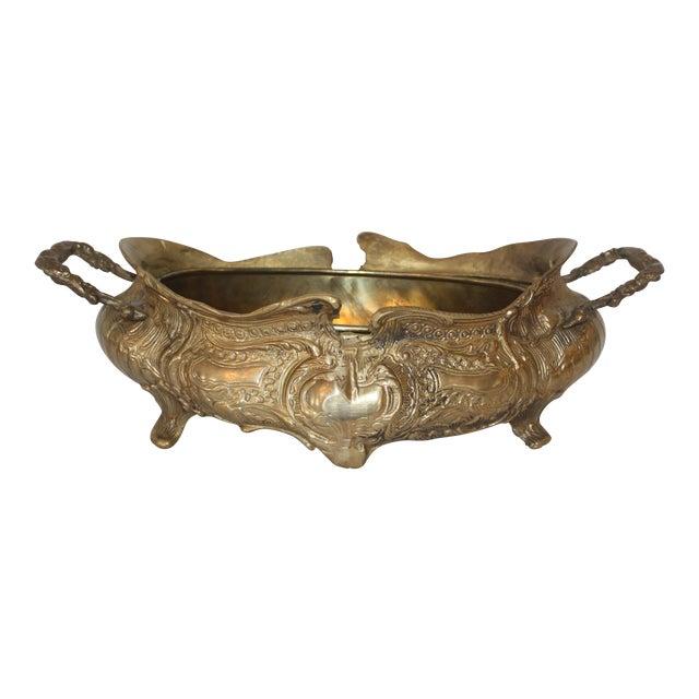 Vintage Art Nouveau Brass Jardiniere - Image 1 of 6