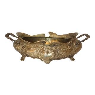 Vintage Art Nouveau Brass Jardiniere