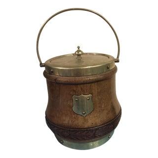 Oak & Brass English Biscuit Barrel