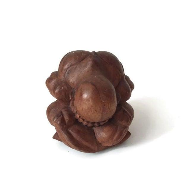 Vintage Carved Wood Meditation Monk Statue Display - Image 2 of 7