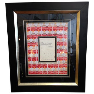 Signed Andy Warhol Soup Print Drawing