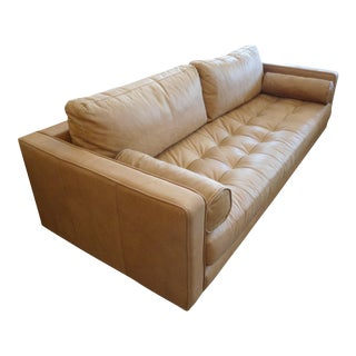 Mid-Century Tan Leather Sofa