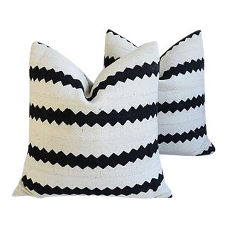 """22"""" Custom Tailored Cotton & Linen Abstract Feather/Down Pillows - Pair"""