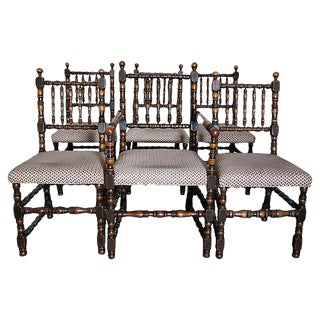 Charles II Style Oak Dining Chairs - Set of 6