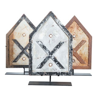 "Collection of Three Early 20th Century ""XXX"" Cast Iron Railroad Crossing Signs"
