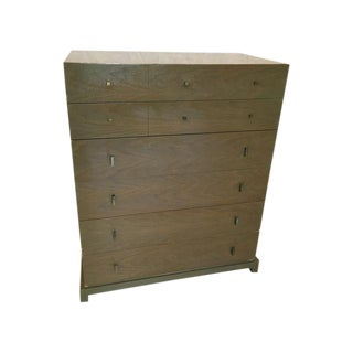 Cerused Oak Dresser with Brass Pulls by Albert Co., 1949