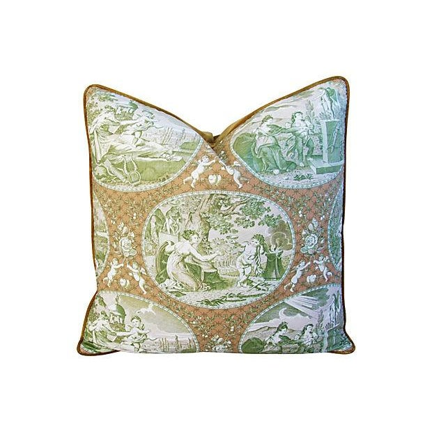 Custom Scalamandre Cupido Toile Pillows - A Pair - Image 3 of 6