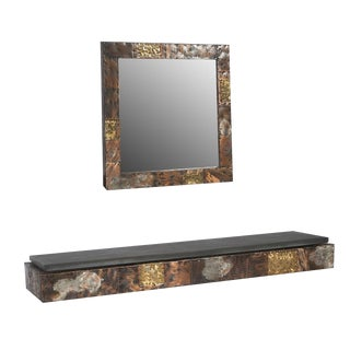 PAUL EVANS PATCHWORK CONSOLE AND MIRROR