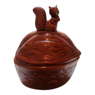 Ceramic Walnut Squirrel Jar