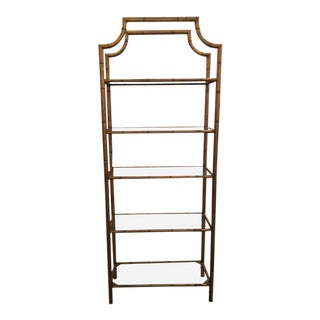 Pagoda Faux Bamboo Metal & Glass Shelves Etagere