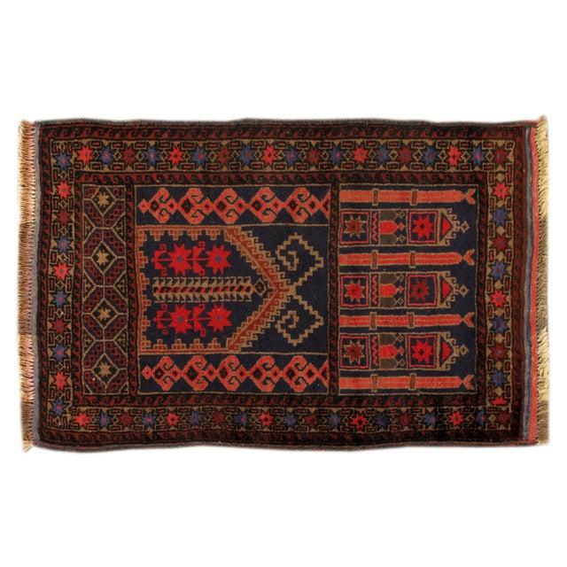 Image of Apadana - Vintage Red & Blue Baluch Rug - 3' X 4'