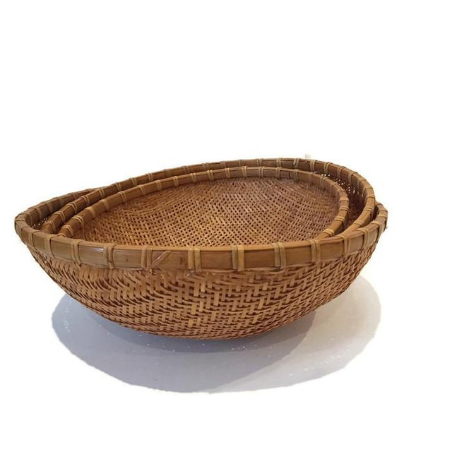 Image of Vintage Straw Thai Rice Nesting Bowls - Set of 3