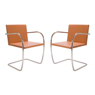 Mies Van Der Rohe for Knoll Brno Tubular Thin-Pad Chairs in Caramel Leather, Pair