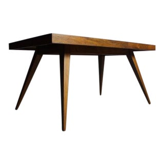 Mid-Century Teak Table with Woven and Glass Surface