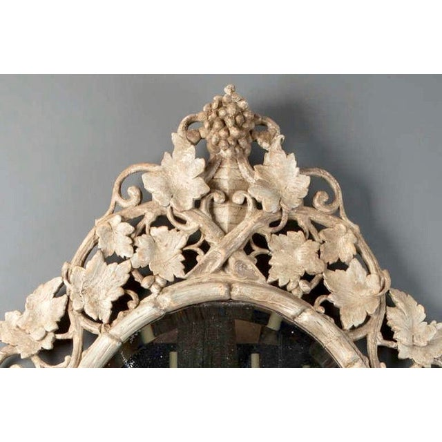 Large 1930's French Beveled Oval Mirror With Carved Grape Vines - Image 3 of 7