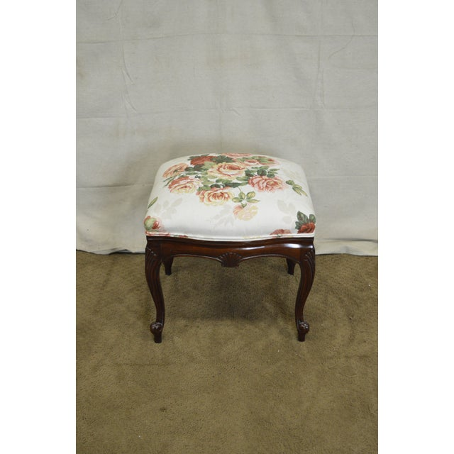 Ottomans Ornate Mahogany Ottoman: French Louis XV Style Solid Mahogany Floral Upholstered