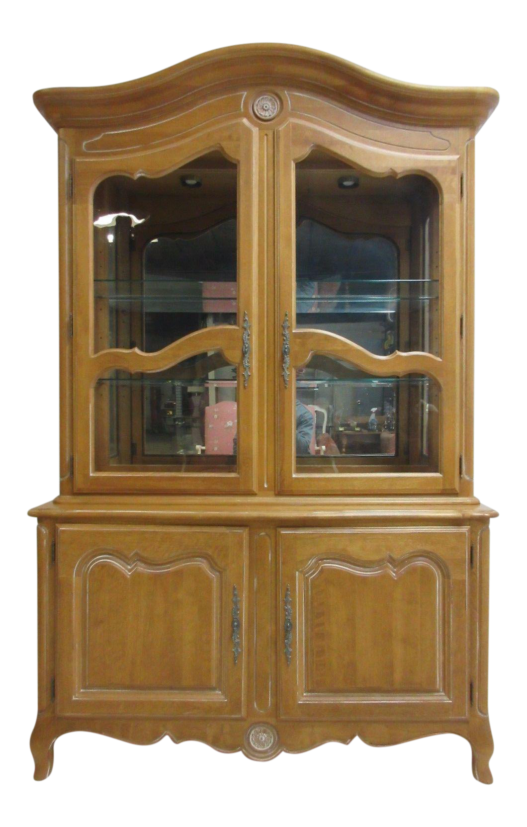 Perfect Ethan Allen Country French Bisque China Cabinet Hutch Curio Display