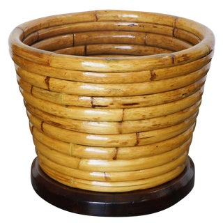 Restored Paul Frankl Stacked Rattan Waste Basket