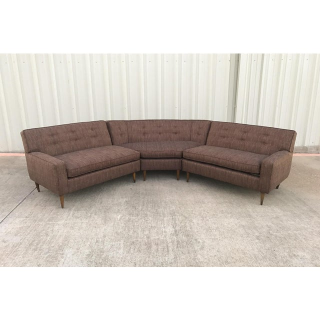 Mid century modern 3 piece sectional sofa chairish for Mid century 3 piece sectional sofa