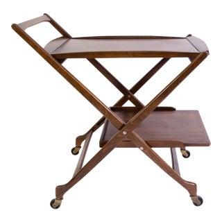Danish Folding Walnut Bar Cart with Serving Tray