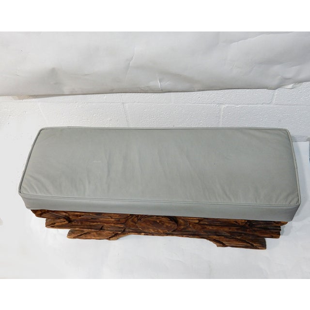 Image of Carved Wood Bench in Vinyl Upholstery
