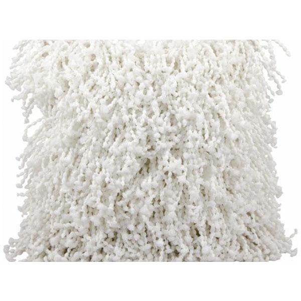 Modern White Shag Pillow - Image 2 of 2