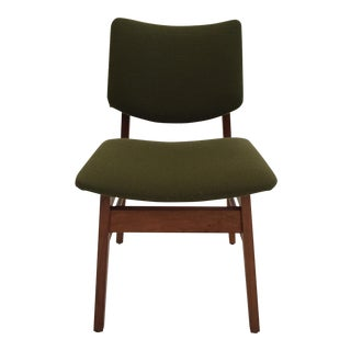 Mid-Century Walnut & Green Upholstery Chair