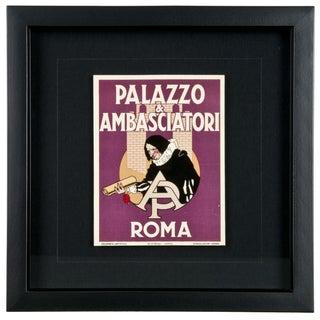 Framed Vintage Palazzo Hotel Luggage Label