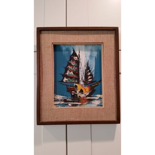 Image of Modernist Painting of Ship at Sea