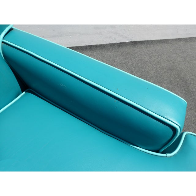 Mid-Century Turquoise Vinyl Sofa - Image 8 of 11
