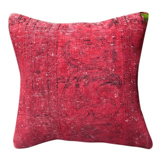 Overdyed Red Turkish Rug Pillow
