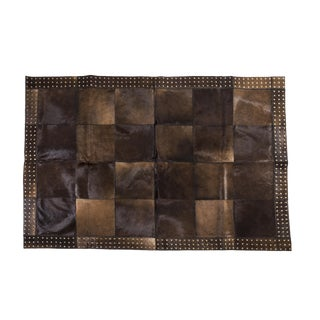 """Aydin Cowhide Patchwork Accent Area Rug with Metal Rivets - 4'7"""" x 6'7"""""""