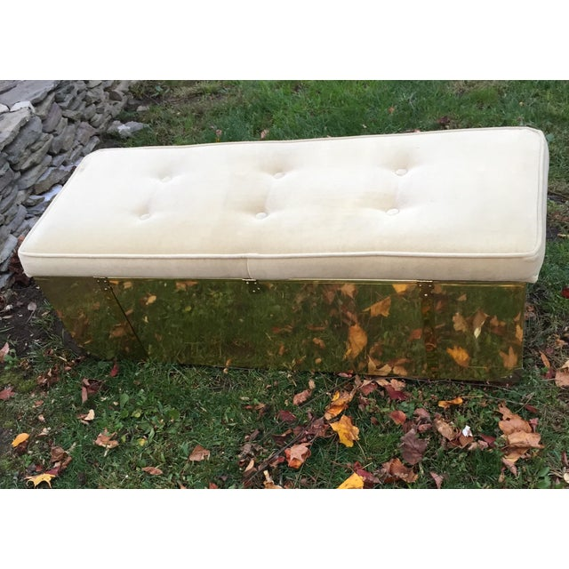 Vintage Tufted Brass Cedar Lined Chest Bench - Image 10 of 11