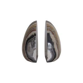 Vintage Modern Italian Marble Bookends - Pair