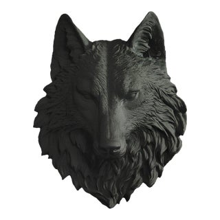 Faux Wolf Head Bust Mount in Black by Wall Charmers
