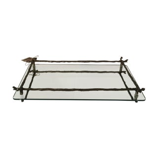 Mirrored Silver Faux Bois Tray
