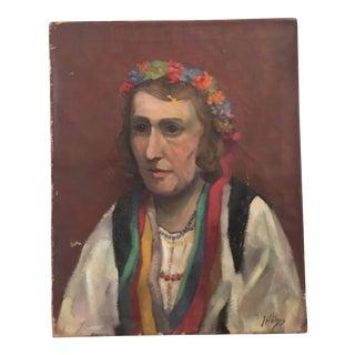 Antique Portrait of Woman Oil Painting