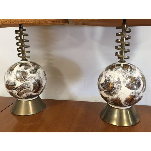 Mid Century Brass Corkscrew Table Lamps - A Pair - Image 4 of 10