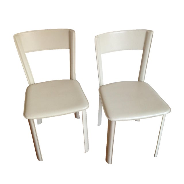 DWR White Leather Chairs - A Pair - Image 1 of 7