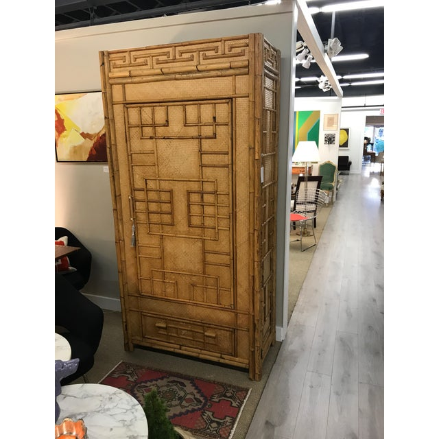 Vintage Rattan Bamboo Armoire Cabinet With Lucite And Brass Handle - Image 8 of 11