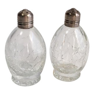 Antique Sterling & Glass Salt & Pepper Shakers - A Pair